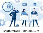 unemployed people are holding... | Shutterstock .eps vector #1843063675