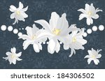 dark blue ornamental background ... | Shutterstock .eps vector #184306502