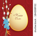 easter greetings card with egg...   Shutterstock .eps vector #184308932