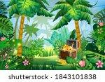 treasure pirate chest full of... | Shutterstock .eps vector #1843101838