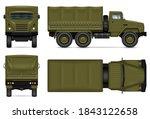 military truck isolated vector... | Shutterstock .eps vector #1843122658