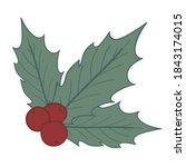 holly berry. christmas... | Shutterstock .eps vector #1843174015