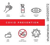 prevention covid 19 icons set.... | Shutterstock .eps vector #1843205572