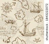old caravel  vintage sailboat ... | Shutterstock . vector #1843222072