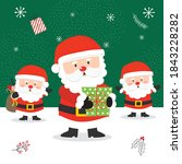 cute santa clause with red and... | Shutterstock .eps vector #1843228282