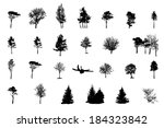 set of tree silhouette isolated ... | Shutterstock .eps vector #184323842