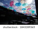 Colorful Umbrellas Background....
