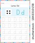 alphabet tracing worksheet.... | Shutterstock .eps vector #1843310158