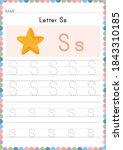 alphabet tracing worksheet.... | Shutterstock .eps vector #1843310185
