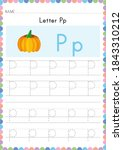 alphabet tracing worksheet.... | Shutterstock .eps vector #1843310212