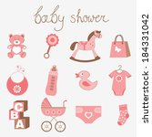 cute baby shower girl collection | Shutterstock .eps vector #184331042