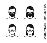 person wearing face mask icon... | Shutterstock .eps vector #1843325122