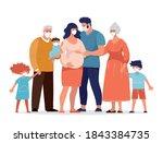 the family uses medical masks... | Shutterstock .eps vector #1843384735
