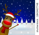 christmas reindeer with a scarf ... | Shutterstock . vector #1843407748