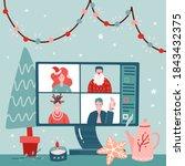 concept of videoconference  web ... | Shutterstock .eps vector #1843432375
