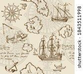 old caravel  vintage sailboat ... | Shutterstock . vector #1843511998