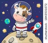 cute cartoon bull astronaut on...   Shutterstock .eps vector #1843531072