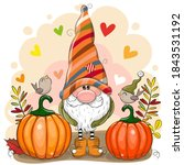 cute cartoon gnome with two... | Shutterstock .eps vector #1843531192