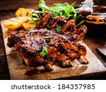 delicious barbecued ribs... | Shutterstock . vector #184357985