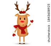 christmas cute  happy reindeer... | Shutterstock .eps vector #1843608925