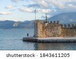 The old harbor of Nafpaktos, known as Lepanto during part of its history, Greece, On the north coast of the Gulf of Corinth.
