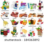 Set of sixty four supermarket vector icons includes: Food ingredients, Babies products, Cleaning products, Toiletries, Magazines and Paper bag full of products.