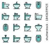 bidet icons set. outline set of ... | Shutterstock .eps vector #1843659925