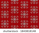 knitted snowflake in seamless... | Shutterstock .eps vector #1843818148