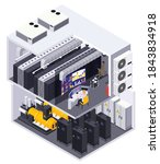 data center 2 story facility...   Shutterstock .eps vector #1843834918