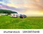 Mobile Home  Tent And Car At...