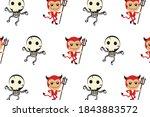 halloween pattern cute... | Shutterstock . vector #1843883572
