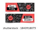 black friday banner set with... | Shutterstock .eps vector #1843918075
