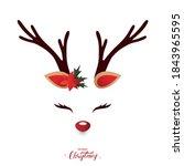 christmas reindeer face vector...   Shutterstock .eps vector #1843965595