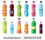 Soda drink bottles. Soft drinks in plastic bottle, sparkling soda and juice drink. Fizzy beverages isolated vector illustration icons set. Beverage drink bottle, water soda juice collection