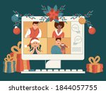 online holiday party. people... | Shutterstock .eps vector #1844057755
