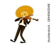 mariachi skeleton in sombrero... | Shutterstock .eps vector #1844065048