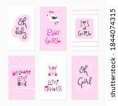 baby girl card set   hand drawn ... | Shutterstock .eps vector #1844074315