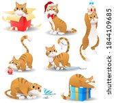 cartoon christmas cat. the cat... | Shutterstock .eps vector #1844109685