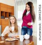 two women having quarrel  at... | Shutterstock . vector #184413416
