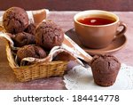 Chocolate Muffins And Cup Of Tea