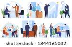 set of office scenes. women and ... | Shutterstock .eps vector #1844165032