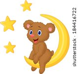 baby bear sitting on the moon | Shutterstock .eps vector #184416722