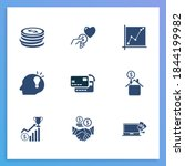 economy icon set and graph with ...
