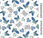 butterflies and hearts pattern... | Shutterstock .eps vector #1844204062