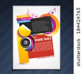 vector music party flyer... | Shutterstock .eps vector #184424765