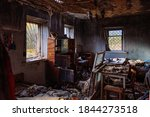 Burnt Old House Interior....