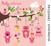 newborn elements for baby girl... | Shutterstock .eps vector #184435166