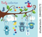 newborn elements for baby boy... | Shutterstock .eps vector #184435172