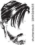 men hairstyle in black and... | Shutterstock .eps vector #1844364655