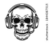 skull with headset vector... | Shutterstock .eps vector #1844387515
